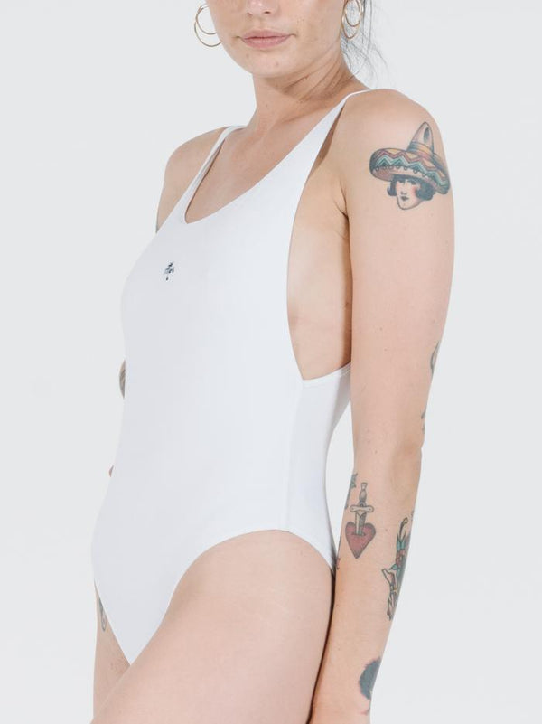 Thrills Palm Embro One Piece - White