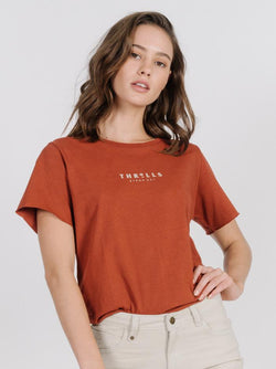 Palmed Thrills Loose Fit Tee - Rocker Red