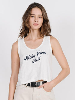 Aloha Crop Scoop Tank - Dirty White