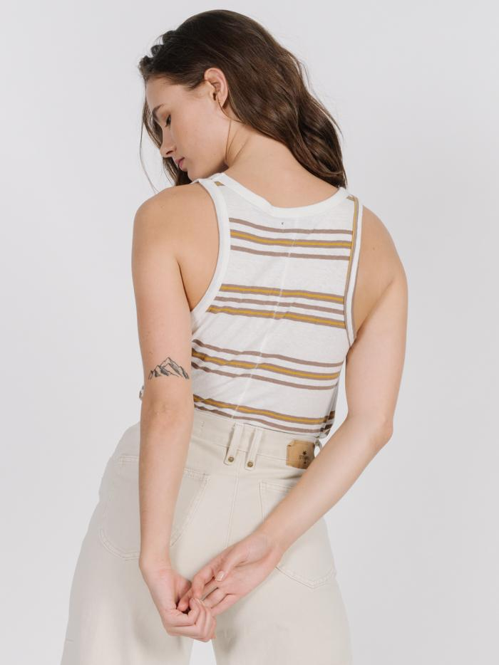 Memory Stripe Scoop Tank - Dirty White