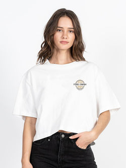 Cycles & Clothing Merch Crop Tee - Dirty White
