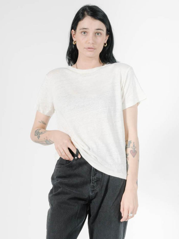 Linen Band Tee - Dirty White