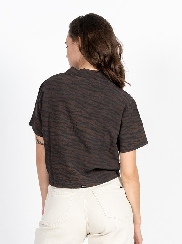 Tied Up Crop Shirt - Dark Brown