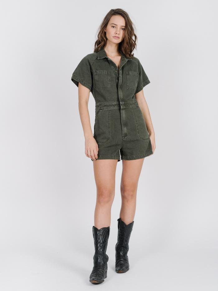 Tab Sailor Romper - Army Green
