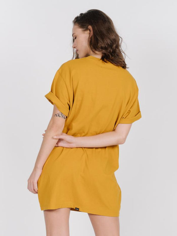 Minimal Thrills Merch Fit Tee Dress - Sunlight Yellow