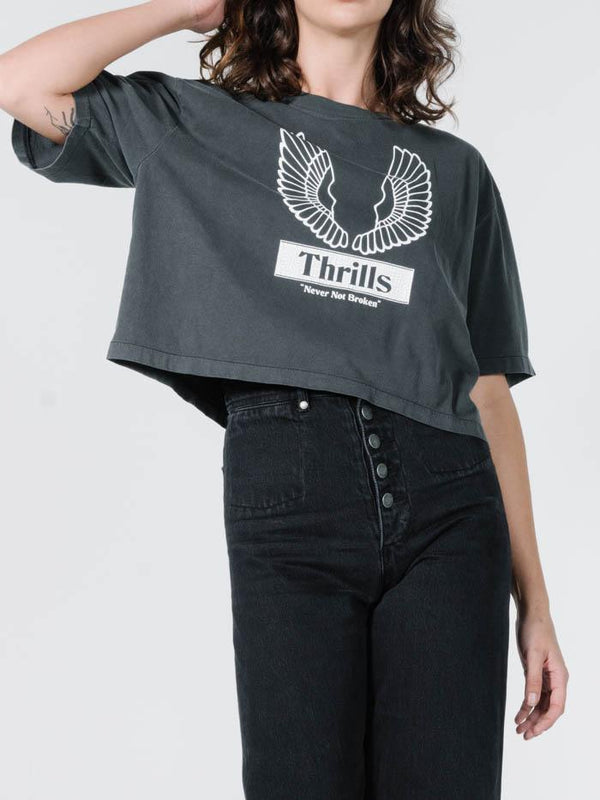 Wings Badge Merch Crop Tee - Merch Black