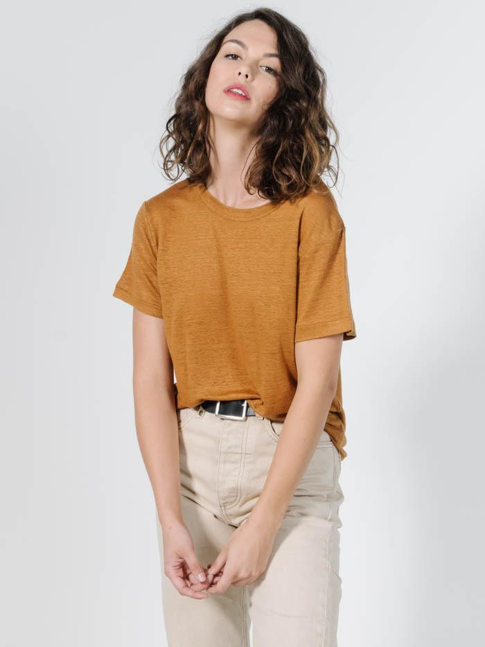 Linen Band Tee - Golden Brown