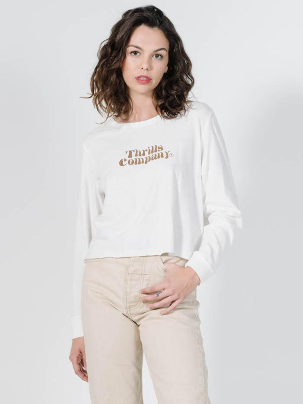 Truckin' Crop LS Tee - Dirty White