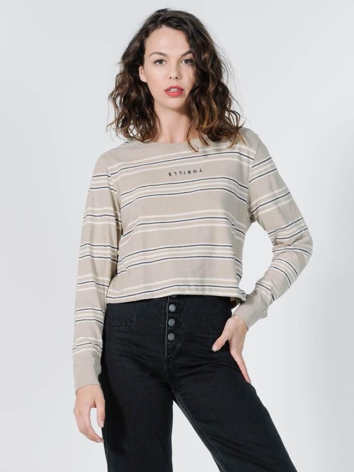 Memory Stripe Crop LS Tee - Oxford Tan
