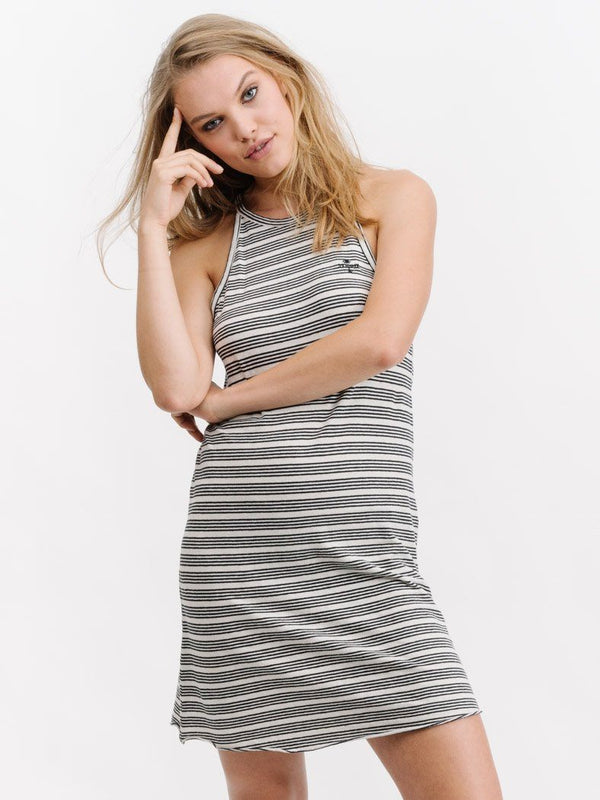 Midnight Stripe Tank Dress- Natural/Black Stripe