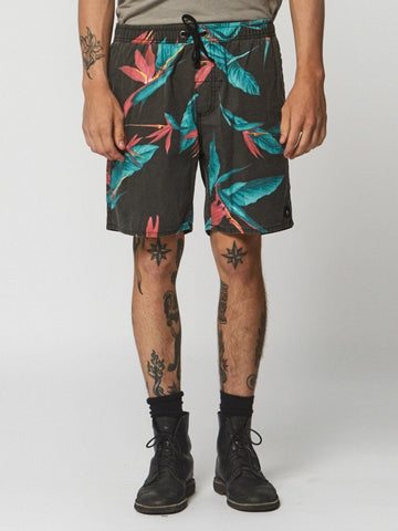 Outline Palm Boardshort - Black