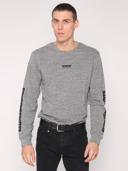 Block Stripe Long Sleeve Tee - Grey Marle - THRILLS CO - 1