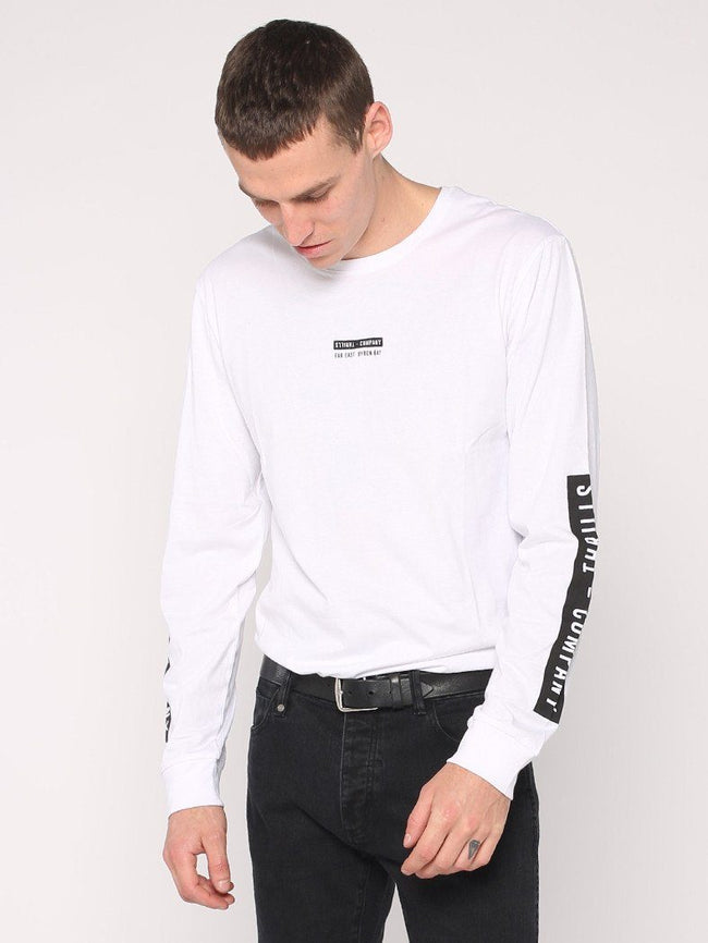 Block Stripe Long Sleeve Tee - White - THRILLS CO - 1