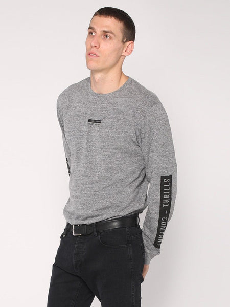 Block Stripe Long Sleeve Tee - Grey Marle - THRILLS CO - 2