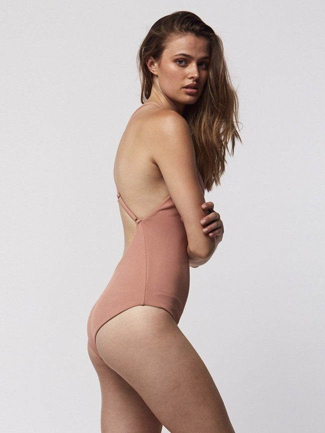 Cross Over One Piece - Dusty Pink