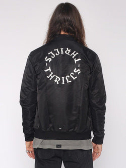 Dragway Bomber Jacket - Black / White Embroidery - THRILLS CO - 3