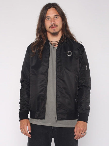 Dragway Bomber Jacket - Black / White Embroidery - THRILLS CO - 1