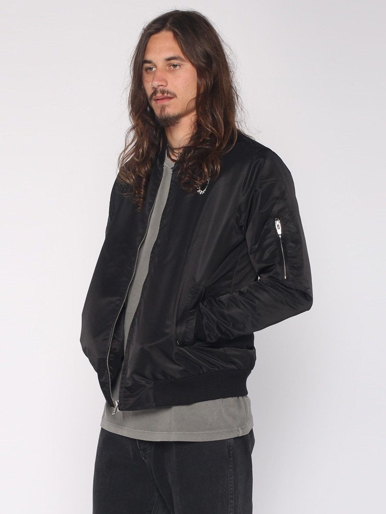 Dragway Bomber Jacket - Black / White Embroidery - THRILLS CO - 2