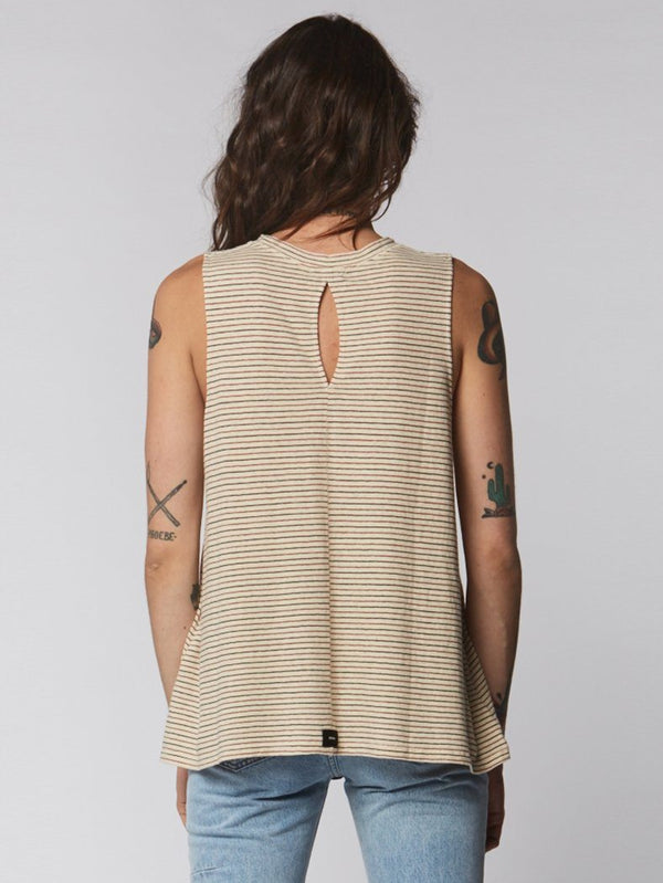 Hemp Redondo Tank - Natural Stripe - Thrills Co