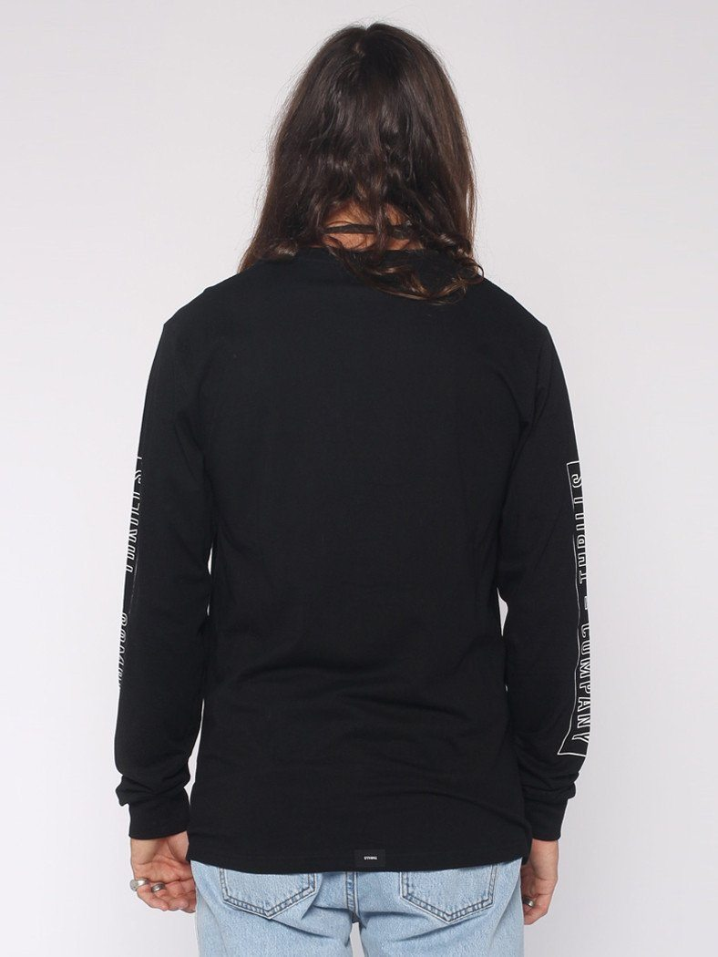 Outline Block Strip Long Sleeve Tee - Black - THRILLS CO - 3