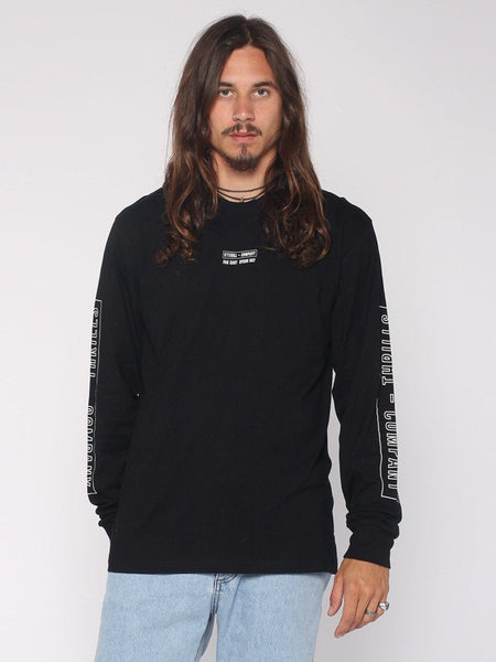 Outline Block Strip Long Sleeve Tee - Black - THRILLS CO - 1