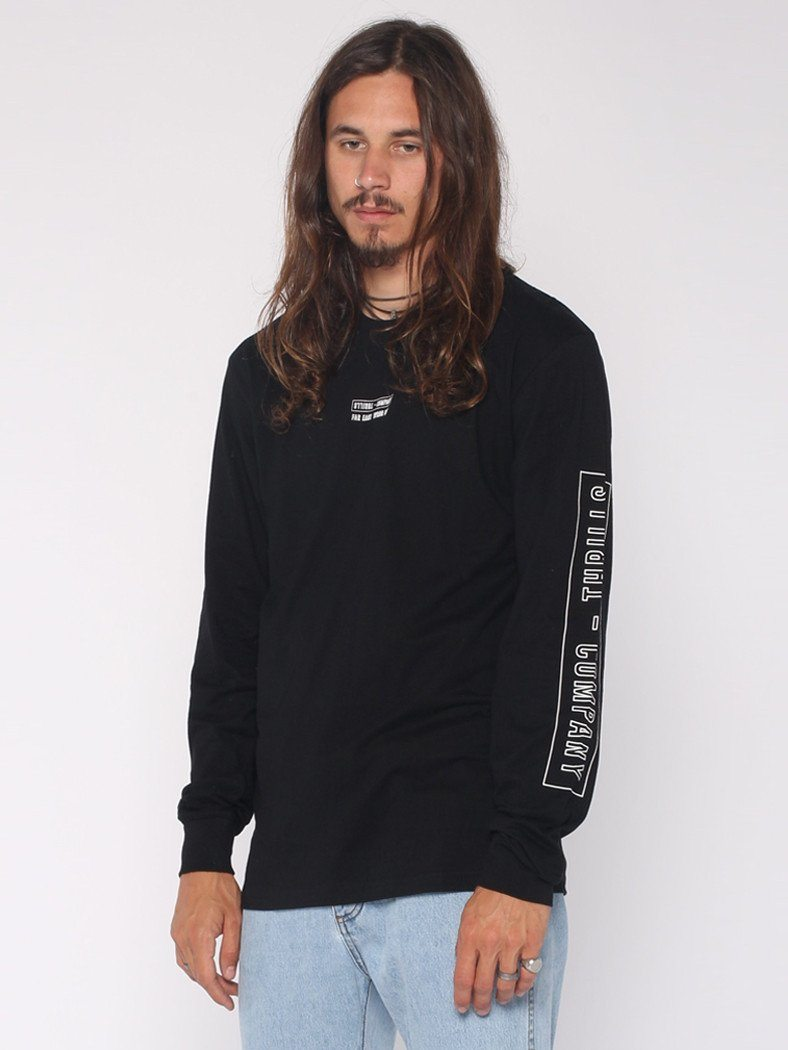 Outline Block Strip Long Sleeve Tee - Black - THRILLS CO - 2
