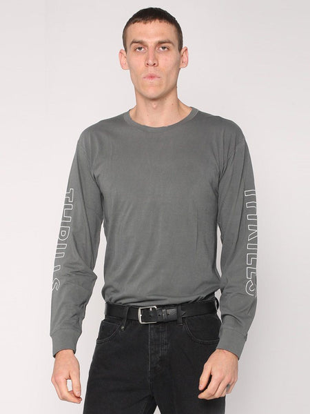 Outline Logo Long Sleeve Tee - Faded Grey - THRILLS CO - 3