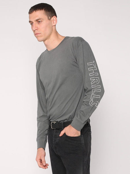 Outline Logo Long Sleeve Tee - Faded Grey - THRILLS CO - 1