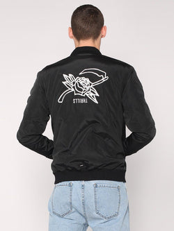 Rose Scithe Embroidery Bomber - Black - THRILLS CO - 1