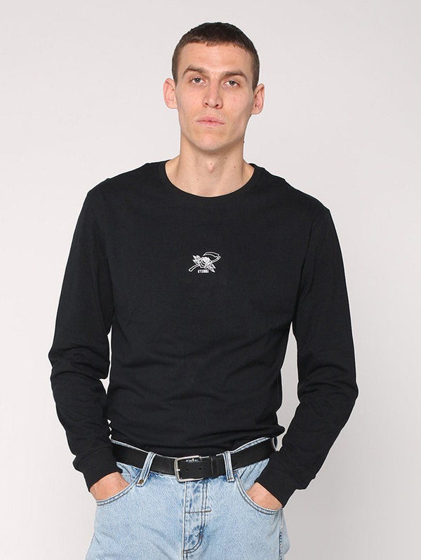 Rose Scathe Embroidery Long Sleeve Tee - Black