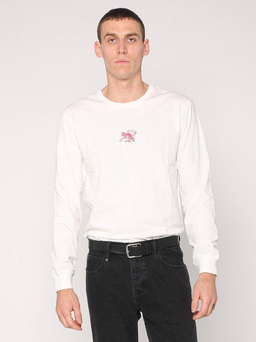 Rose Scythe Embroidery Long Sleeve Tee - White