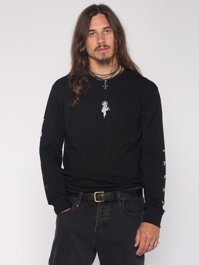 Snake Rose Long Sleeve Tee - Black - THRILLS CO - 1