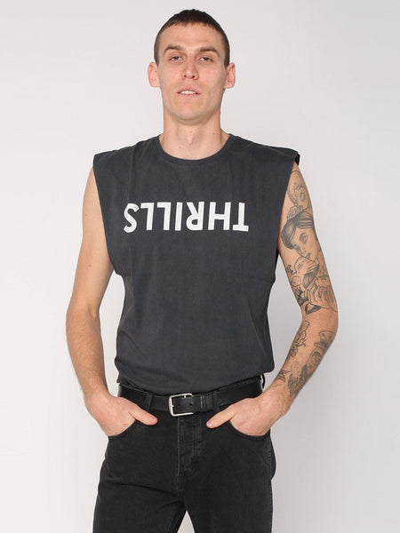 Thrills Logo Muscle - Vintage  Black - THRILLS CO - 1