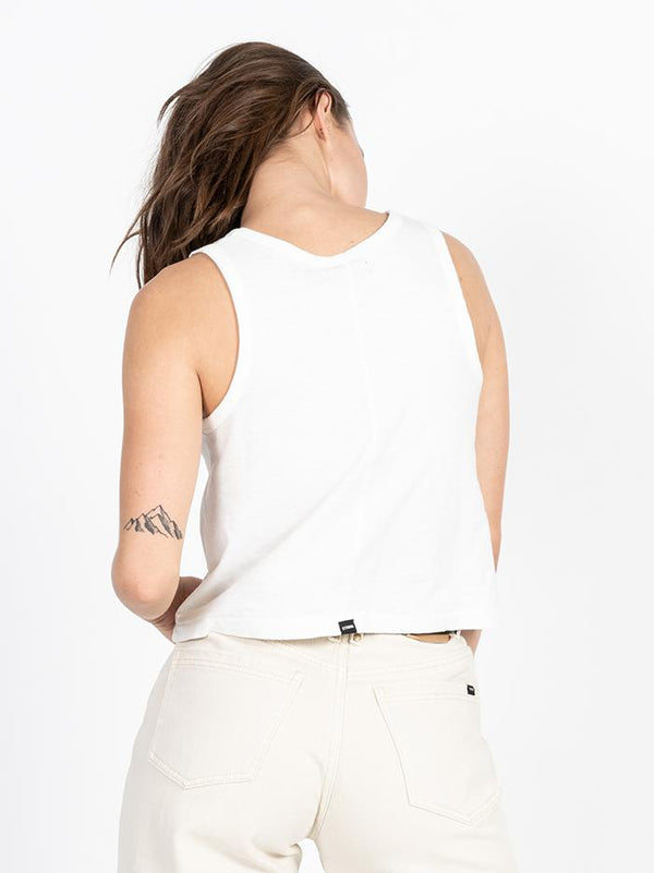 Cycles & Clothing Crop Scoop Tank - Dirty White
