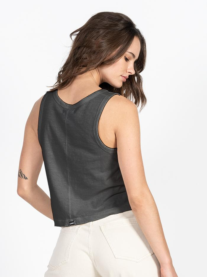 Cycles & Clothing Crop Scoop Tank - Merch Black