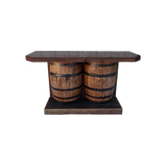 BAR-DOUBLE-WINE BARREL W/2 DOORS - BLACK
