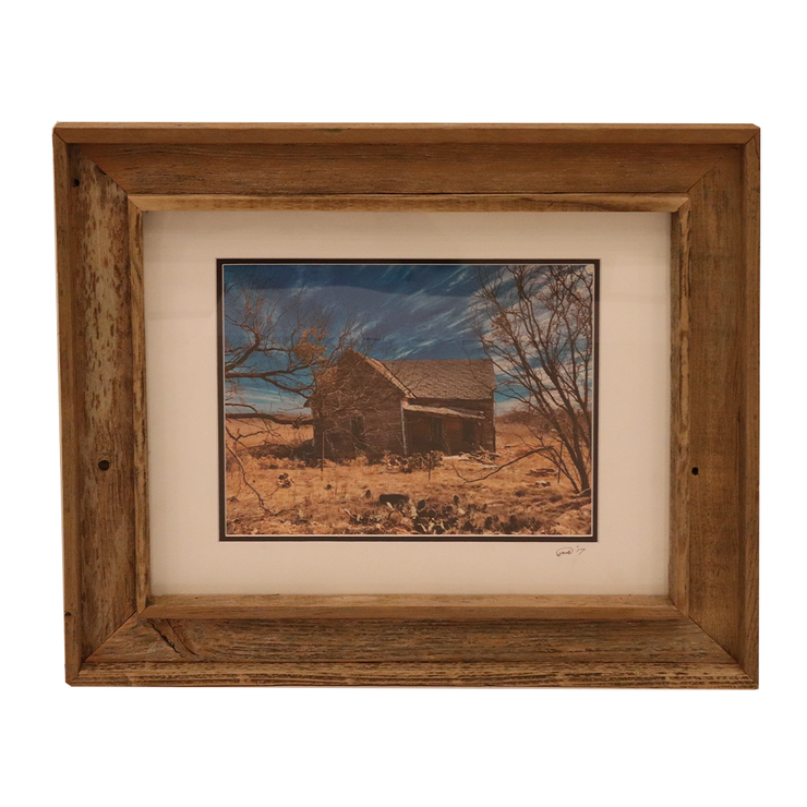 Wooden Double Frame Matte Image Brown House