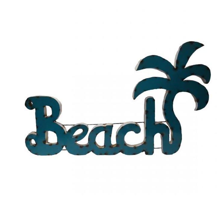 Beach W/ Palm Tree - Metal Sign