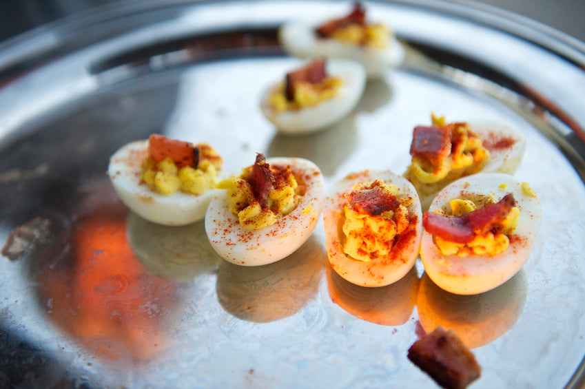 paleo friendly gluten free smoky chipotle beef bak kwa with deviled eggs