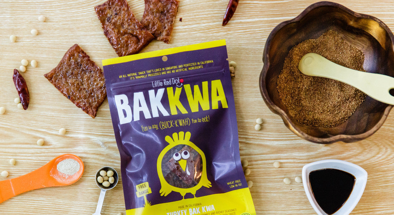 Gluten free, low sodium Turkey Bak Kwa meat snack bars made with animals without antibiotics and hormones