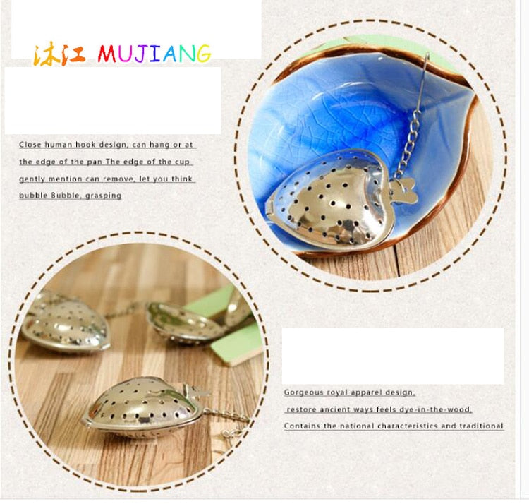 Stainless Steel Heart Tea Strainer Infuser Filter Herb Steeper Tea