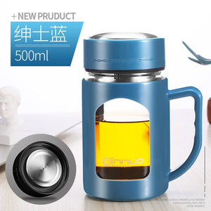 Blue Glass cup water and tea maker with handle/ travel cup
