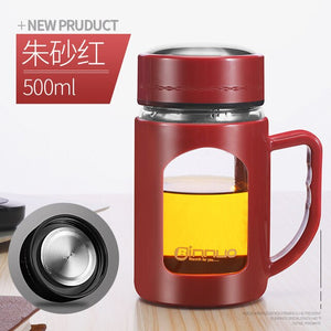 Red Glass cup water and tea maker with handle/ travel cup