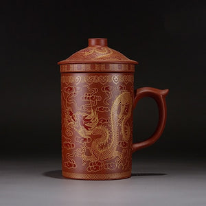 Kung Fu Round Hand Painted Ceramic  Tea Cup With Stainer