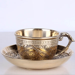 India handmade engraving brass Coffee cup Saucer Set