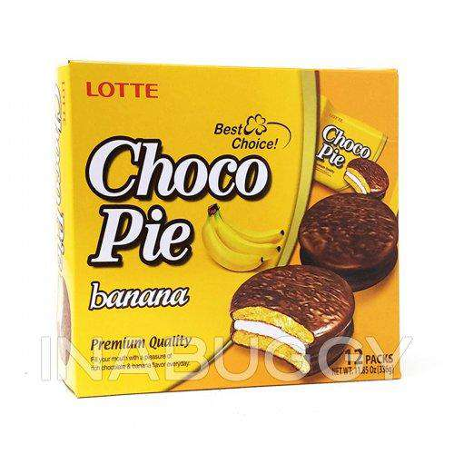 Lotte Chocopie Banana 1Pack (28g), 12Pack(336g) - Choco pie - CoKoYam
