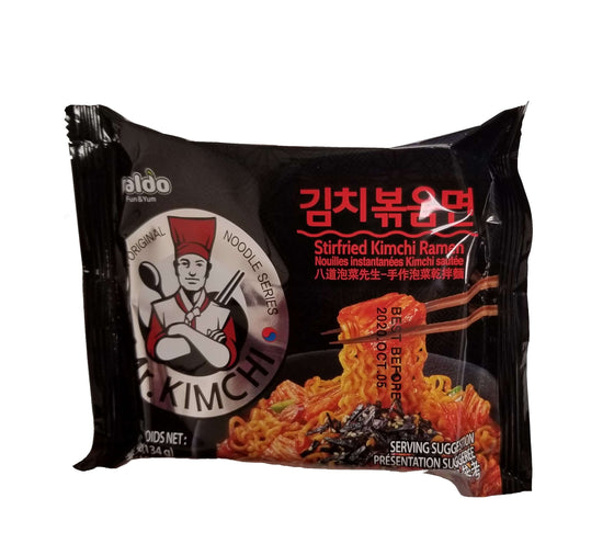 Paldo Spicy Mr. Kimchi Stir Fried Ramen 4Pack (536g) - CoKoYam
