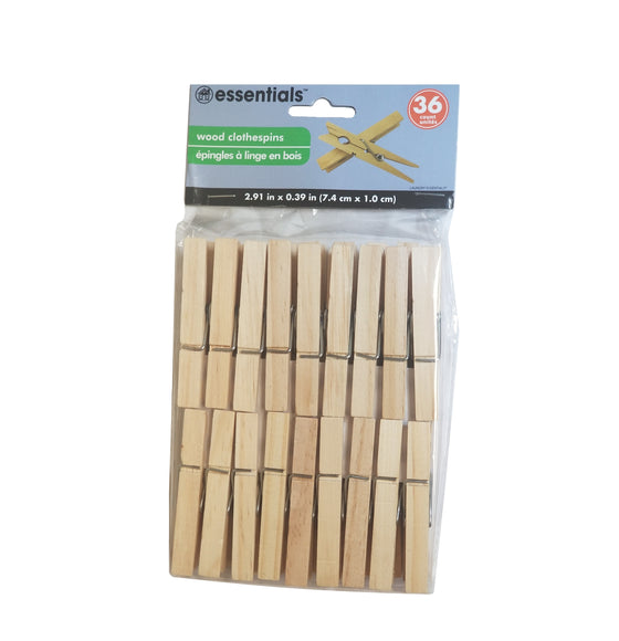 Essentials Wood Clothespins (36 Count) - CoKoYam