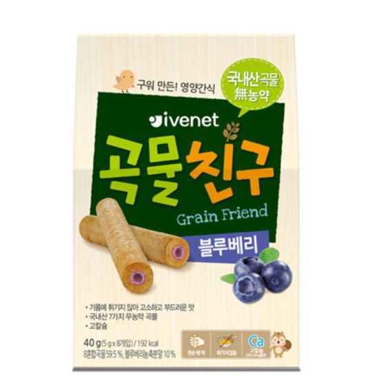IVENET Bebe Organic Grain Friend Blueberry Roll (40g) - CoKoYam