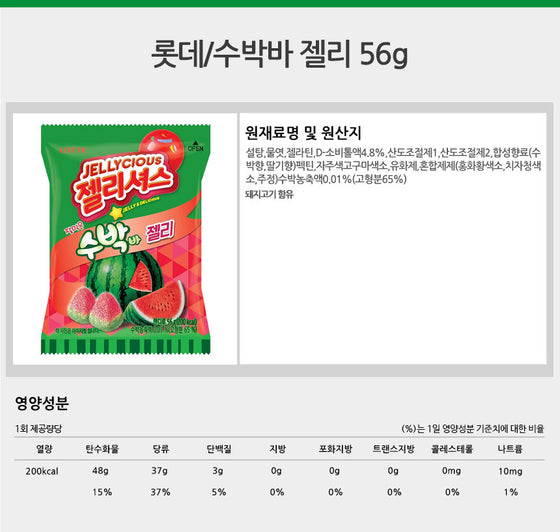 Lotte Gummy Watermelon Jelly (56g) - CoKoYam